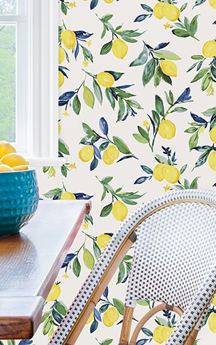 はがせる シール 壁紙 NU WALLPAPER / Lemon Drop Yellow Peel and Stick Wallpaper / NUS3161(NU3042)