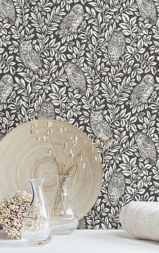 はがせる シール 壁紙 NU WALLPAPER / Charcoal Sleepy Owls Peel and Stick Wallpaper / NUS3625